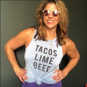 Tops - 🍌 Taco, Lime and Beer Blue Tank Top for Women